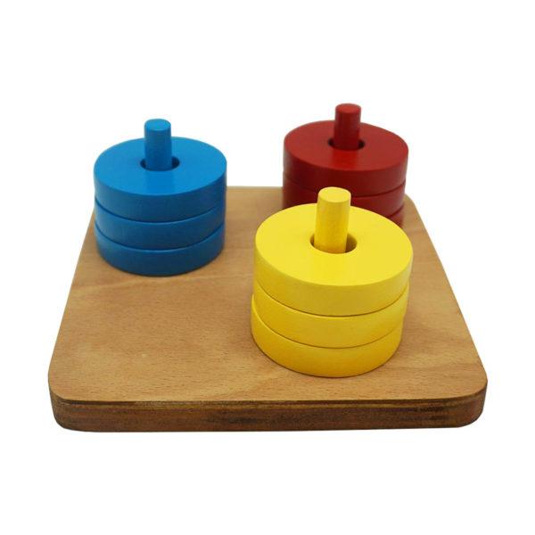 Montessori Premium Coloured Discs on Coloured Dowel Image2