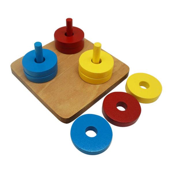 Montessori Premium Coloured Discs on Coloured Dowel Image3