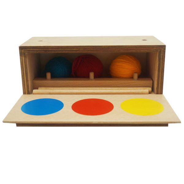 Montessori Premium Imbucare Box with 3 Coloured Knit Balls Image3