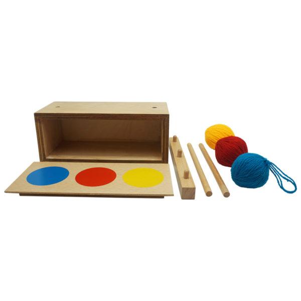 Montessori Premium Imbucare Box with 3 Coloured Knit Balls Image4